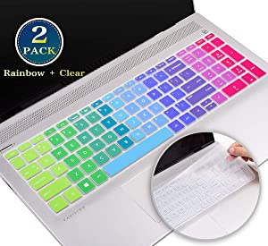 for HP Envy 17 Keyboard Cover 2020, Silicone Keyboard Skin for HP Pavilion x360 15.6/HP Pavilion 15 Series 2019, HP Envy x360 15.6 Series,HP Spectre x360 15-ch(Rainbow+Clear)