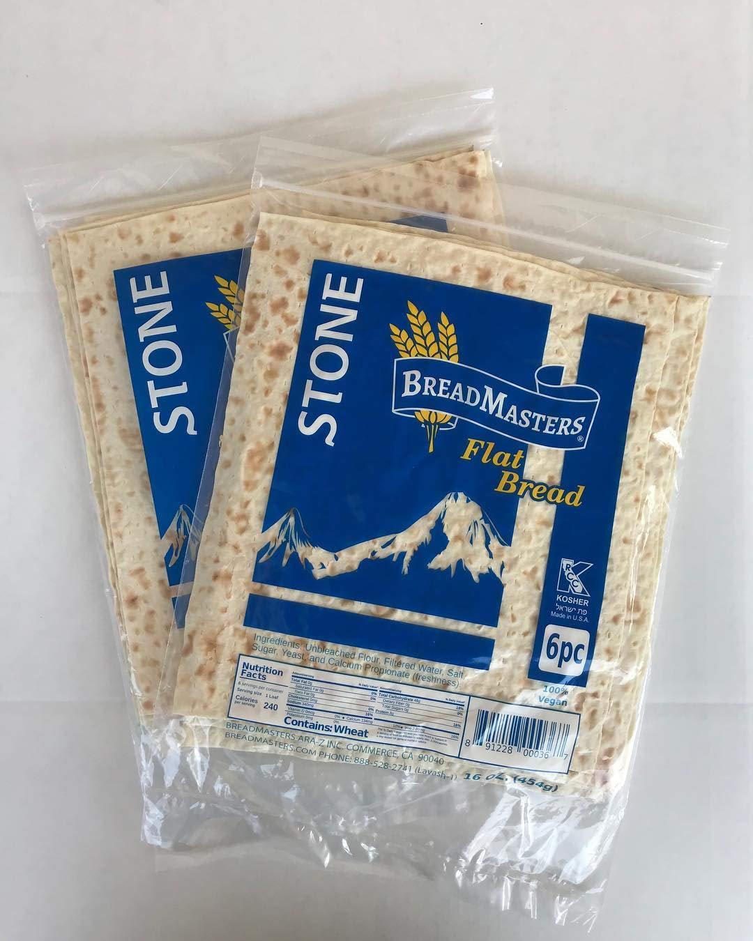 Ara-Z Stone Lavash Flat Bread 10 Packs of 6 (60 total) Cholesterol Free, GMO Free, Kosher by Breadmasters Ara-Z