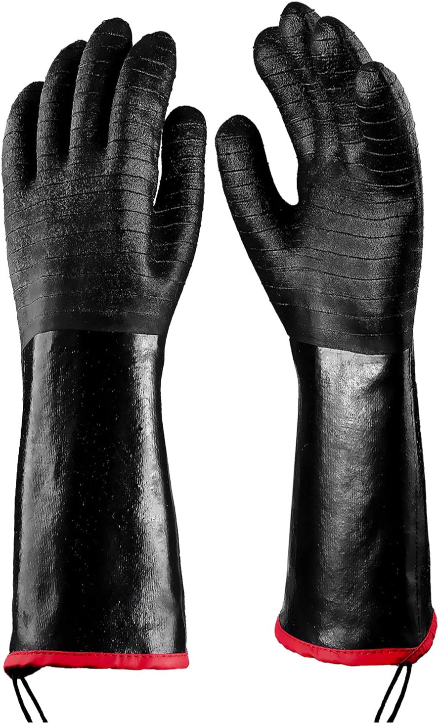 DEFWAY Griller BBQ Gloves Heat Resistant Insulated Cooking Gloves for Barbecue/Grill/Smoker/Fry Turkey/Pot Holder/Oven mitt/Baking, Neoprene Coating with Textured Palms (17-Inch)