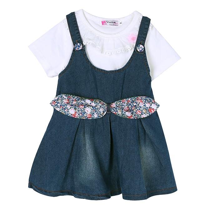 82dd3bddc Amazon.com: AFfeco Korean Girls Clothing T Shirt + Denim Pants ...