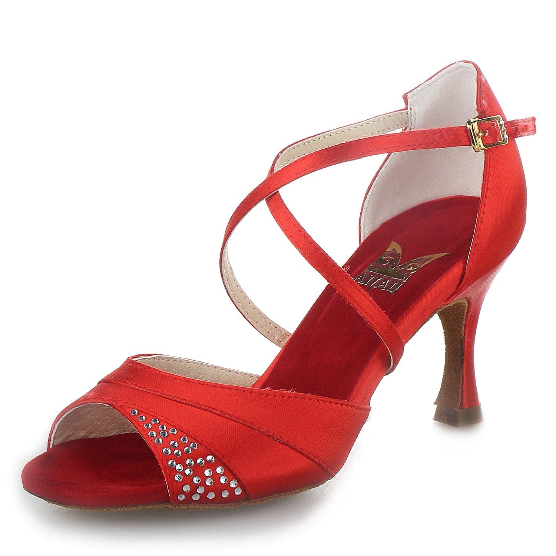 JIA JIA 20522 Latin Sandales Danse Pour Latin Femmes B07847FJ6G 2.7 Talon évasé Super Satin Avec des Chaussures de Danse Strass Rouge dd86781 - epictionpvp.space