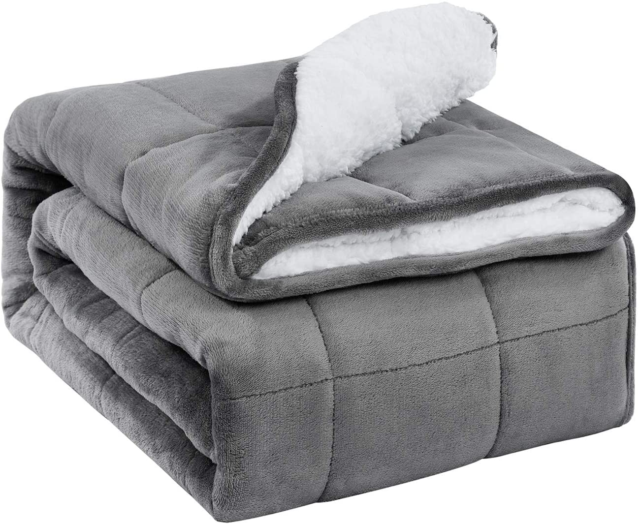 Amazon Com Buzio Sherpa Fleece Weighted Blanket For Adult 15 Lbs Thick Fuzzy Bed Blanket With Soft Plush Flannel Dual Sided Cozy Fluffy Blanket 48 X 72 Inches Grey Home Kitchen