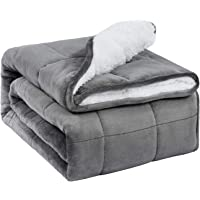 BUZIO Sherpa Fleece Weighted Blanket for Adult, 5.5kg Thick Fuzzy Bed Blanket with Soft Plush Flannel, Dual Sided Cozy…