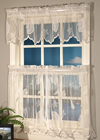 Curtains Ideas 36 inch tier curtains : Amazon.com: Curtain Chic Seashells Lace Tiers, 36-Inch, Ivory ...