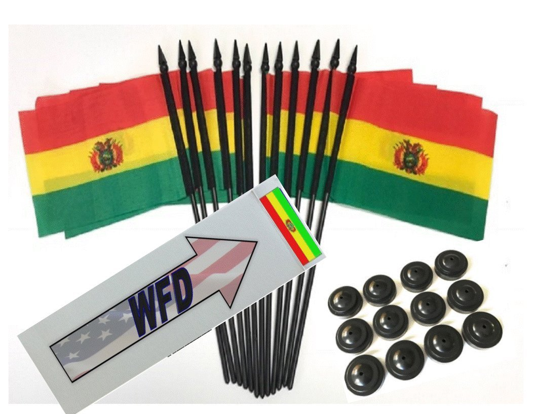 Pack of 12 4''x6'' Bolivia Polyester Miniature Desk & Little Table Flags, 1 Dozen 4''x 6'' Bolivian Small Mini Hand Waving Stick Flags with 12 Flag Bases (Flags with Stands)