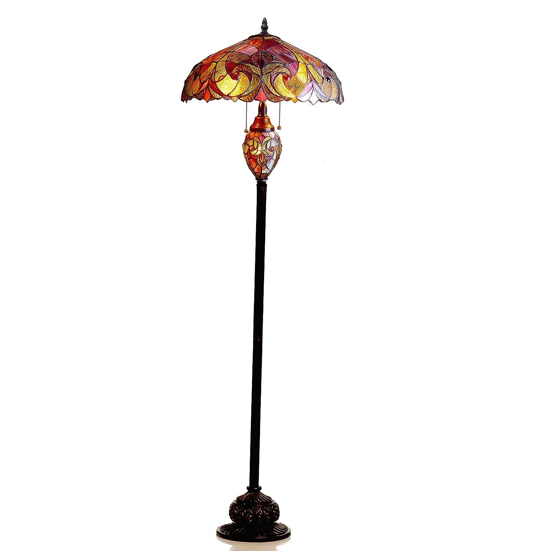 Chloe Lighting CH18780VR18-DF3 Liaison Tiffany-Style Victorian 3-Light Double Lit Floor Lamp, 65 x 18 x 18 , Dark Antique Bronze