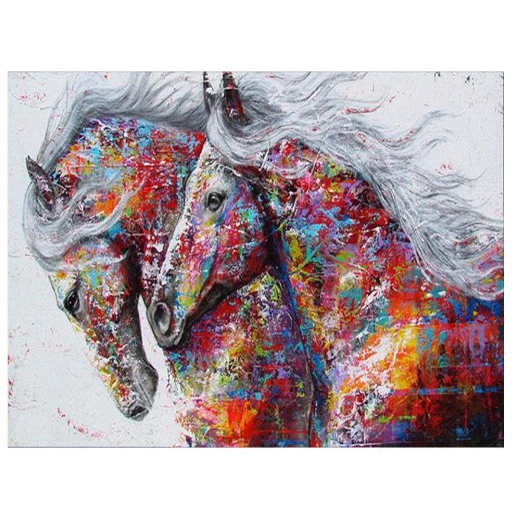 TiTCool 5D Diamond Painting Kit, Couple Horses 30X40CM Drill Rhinestone Pasted Craft DIY Home Decorative