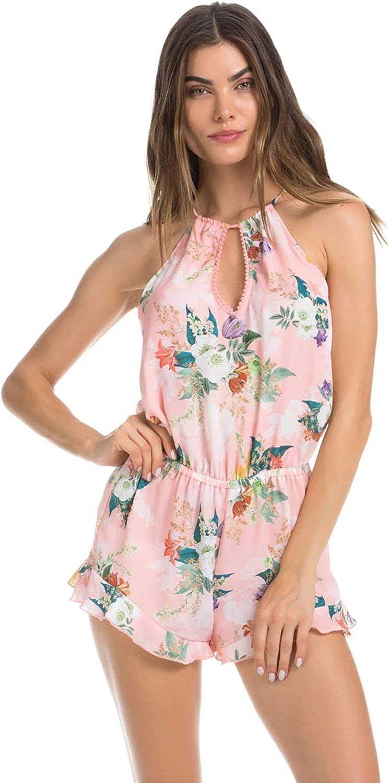 ISABELLA ROSE Womens Blossoms High Neck Pom Pom Trim Romper Swim Cover Up