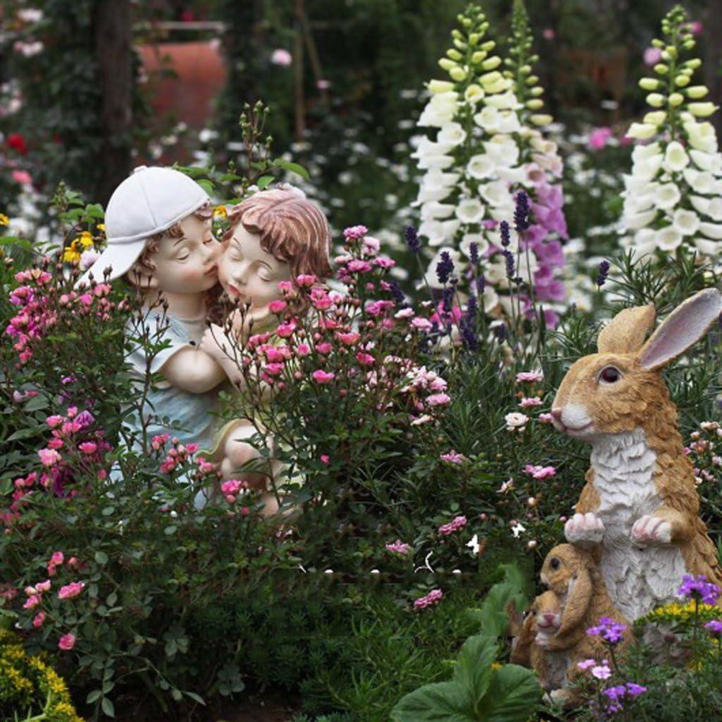 1pc Conejo Blesiya Estatua Ornamento de Resina Decoraciones de Hogar Jard/ín Artesan/ía