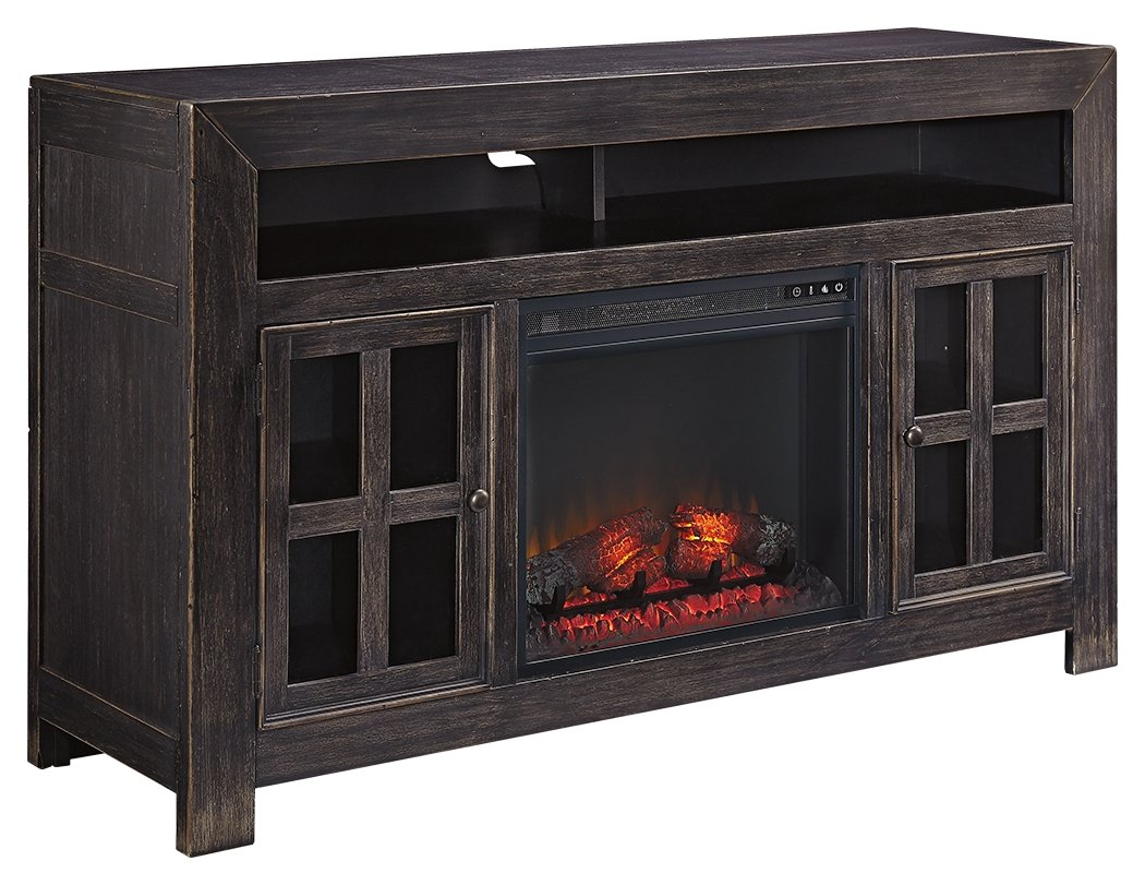 Surprising Ashley Furniture Signature Design Gavelston Hand Finished Tv Stand With Fireplace Insert Black Home Interior And Landscaping Eliaenasavecom