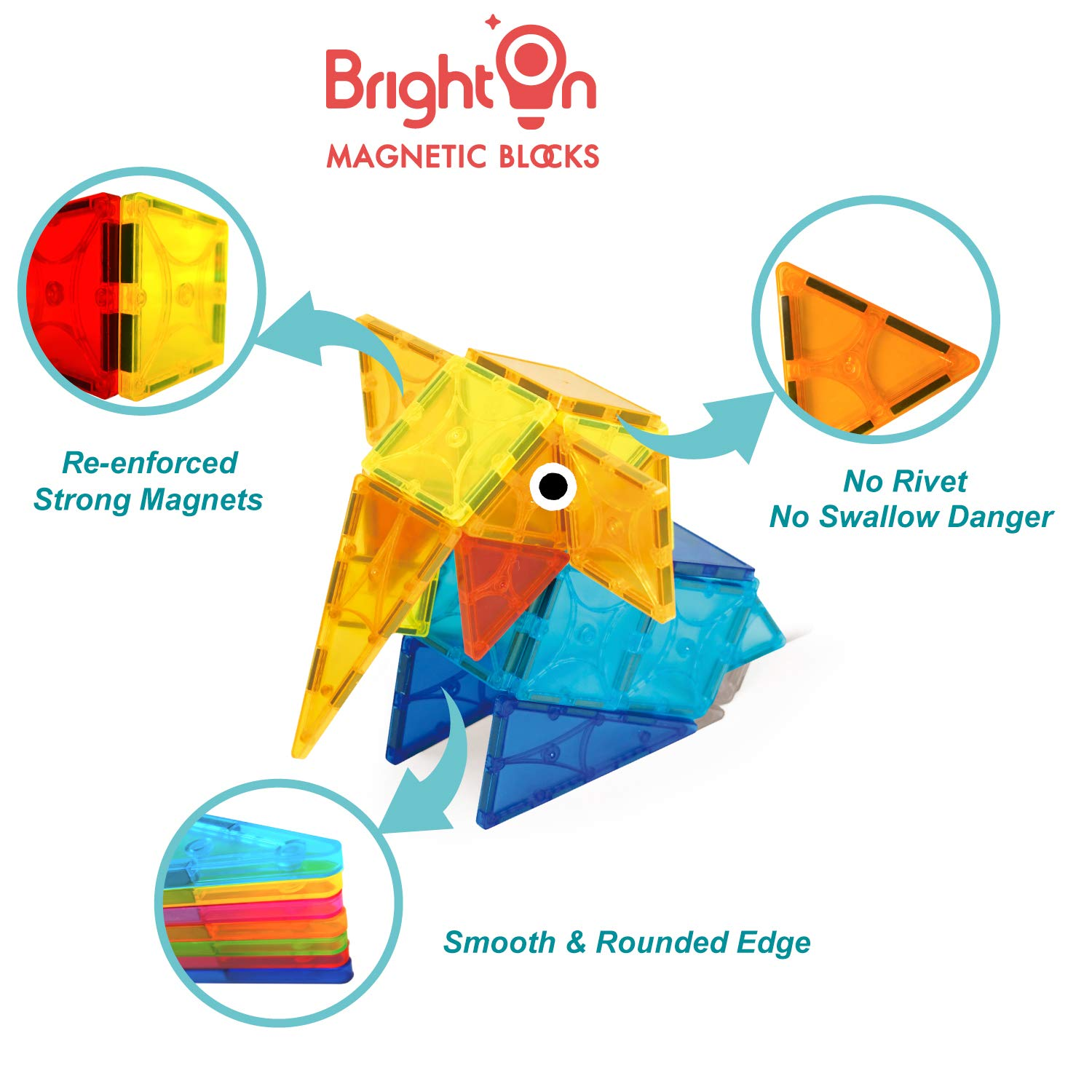 BrightOn Educational Kids Toys Magnetic Building Blocks, Creative Toys 3D Magnetic Blocks for Kids, Imagination Magnets Building Tiles for Children 105Pcs by BrightOn (Image #4)