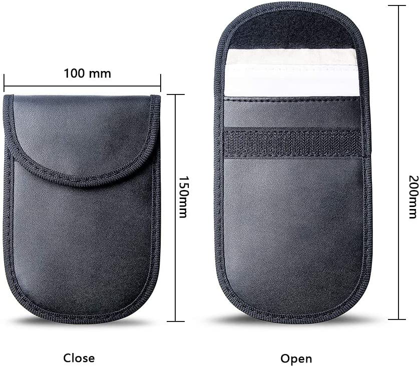 Anti-Theft Faraday Bag Protector Dmoke Car Key Signal Blocker Pouch Case 2 Pack Cell Phone Protection RFID//WIFI//NFC Blocker Car Key Signal Blocking Pouch Bag