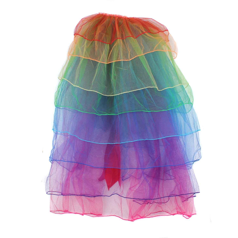 Women's Rainbow Wave Wig Long Gloves Socks 8Layered Tail Tutu Skirt Floral Headband Set (B) by ECOSCO (Image #4)