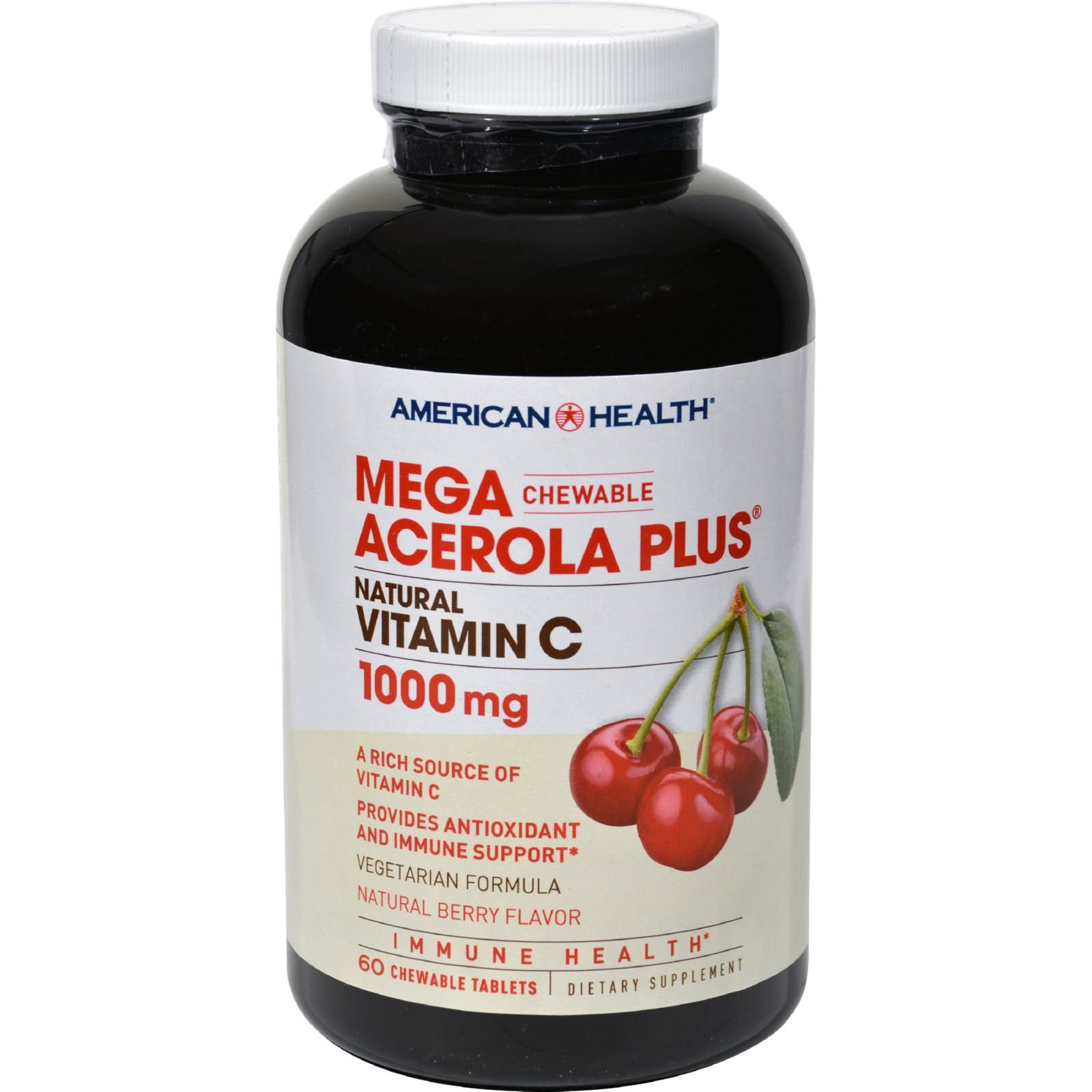 4 Pack of American Health Mega Acerola Plus Chewable Natural Berry - 60 Chewable Wafers - - -