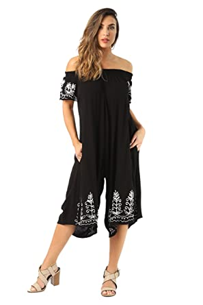 793fe3f3c042 Amazon.com  Riviera Sun Womens Off Shoulder Embroidered Jumpsuit Romper   Clothing