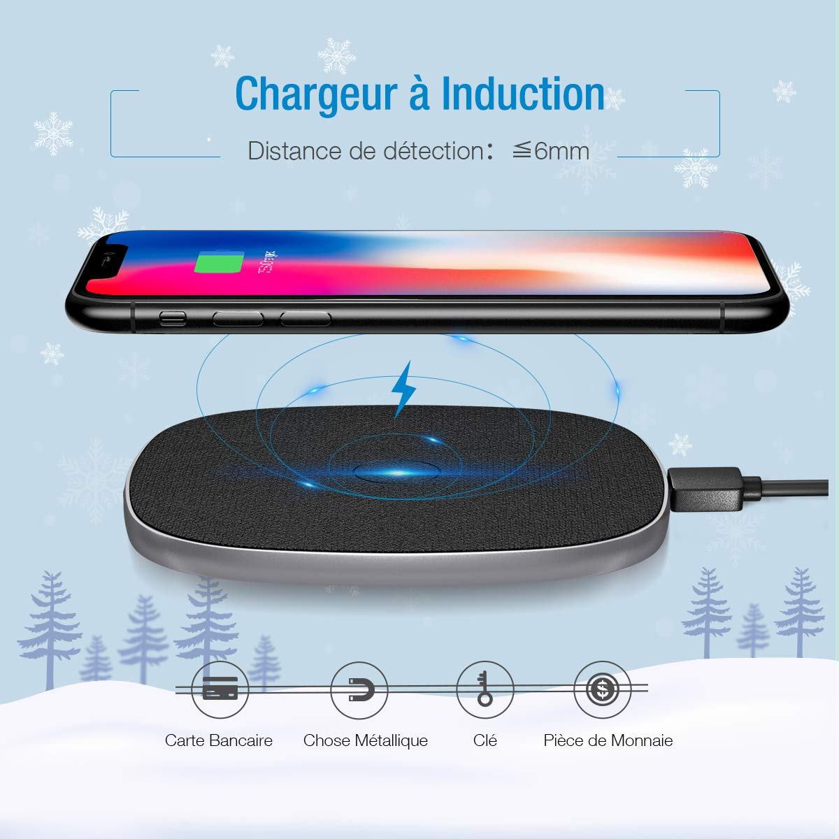 POWERADD Chargeur Sans Fil à Induction 7.5W Charge Rapide pour iPhone XS/XS Max/XR/X/iPhone 8/8 Plus,10W Charge Wireless pour Galaxy S9 / S9+ / S8 / S8+ / S7 et autres appareils compatibles Qi