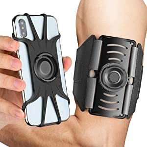 AONKEY Running Armband, 360° Rotatable& Detachable Cell Phone Holder Arm Band Universal fit for All Smartphone Include iPhone Xs Max XS XR X 6S 7 8 Plus, Galaxy S10 S9 S8 Note 9, Google Pixel 3 XL