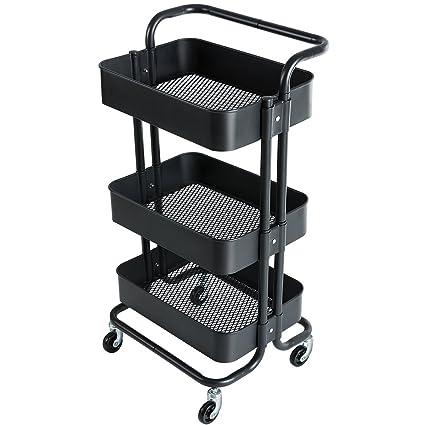 Amazoncom Doeworks 3 Tier Rolling Cart Metal Utility Cart Art