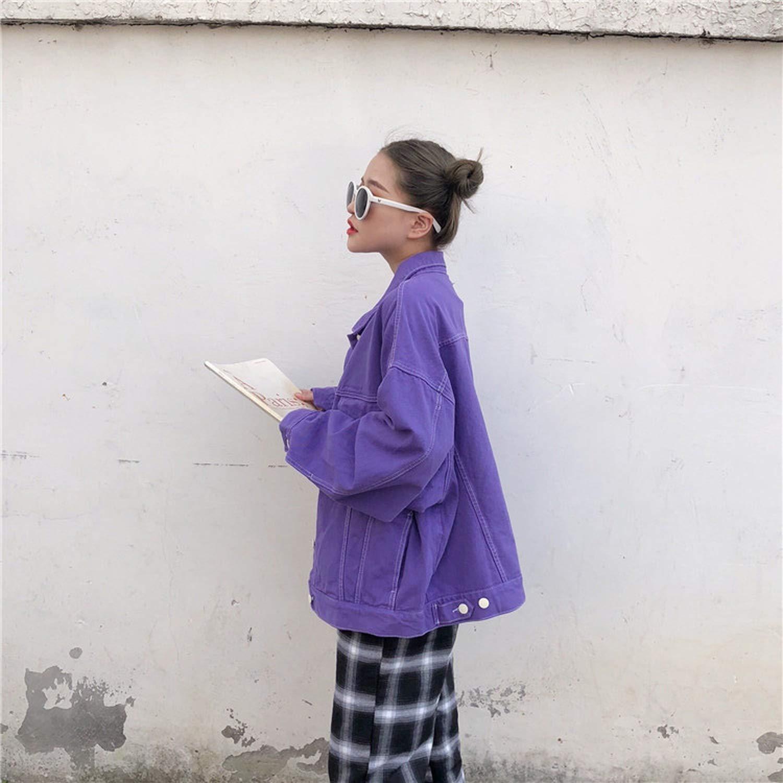 Streetwear Oversize Denim Jacket for Women Casual Candy Color Purple Bomber Jeans Coat Loose Outwear