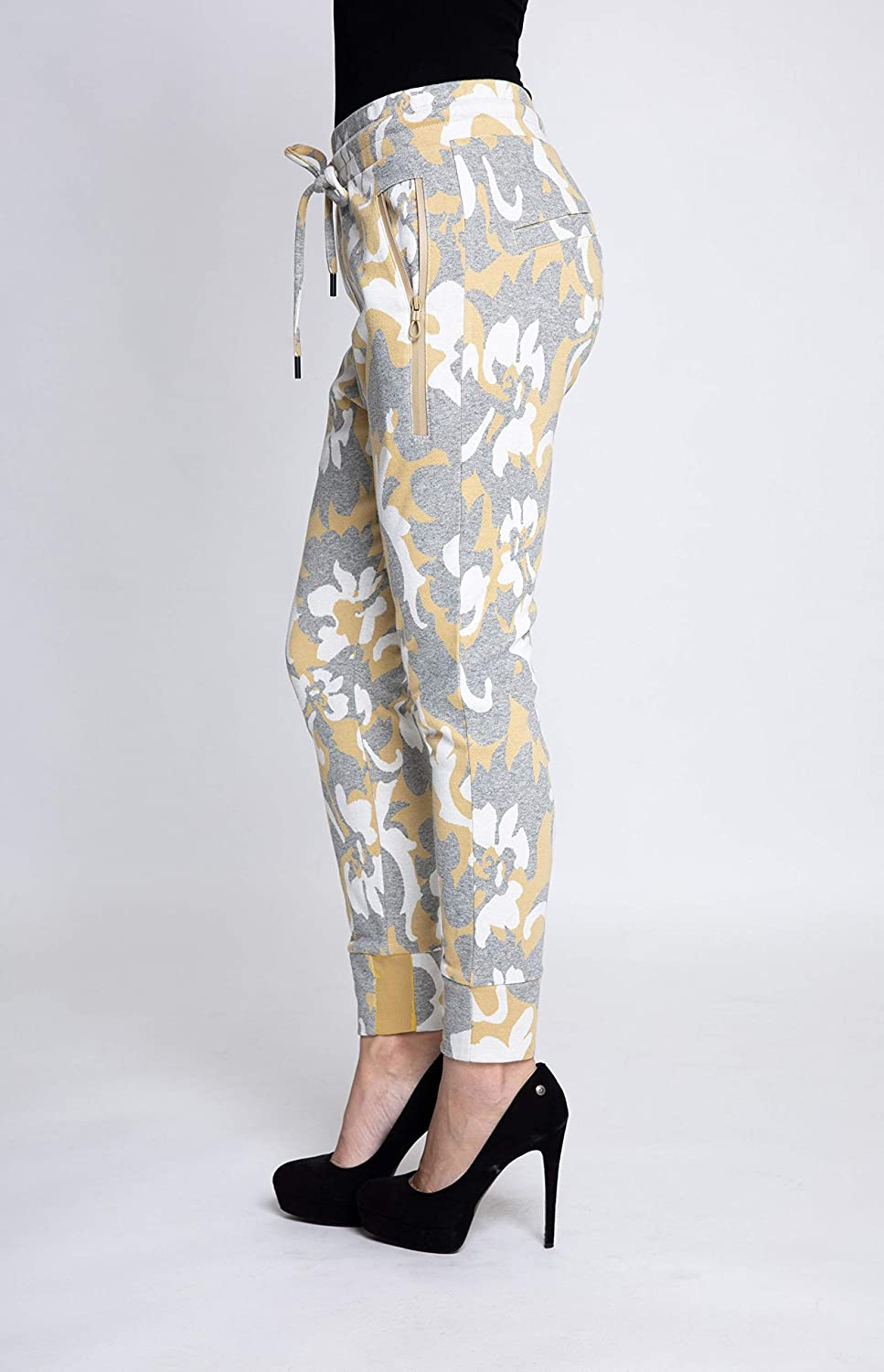 Zhrill Fabia Women's Jogging Bottoms Fabric Trousers Suit Trousers Tapered Cropped Slim Fit N517 - Yellow