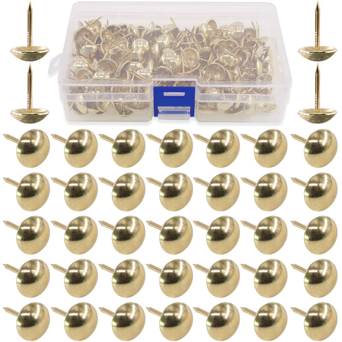 Hilitchi 200-Pieces 9/16'' (14mm) Antique Upholstery Nails Tacks Furniture Tacks Upholstery Tacks Thumb Tack Push Pins Assortment Kit (Gold)
