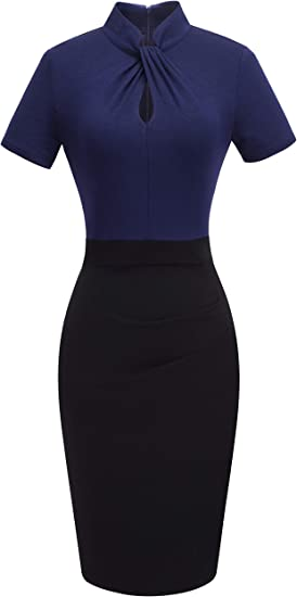 Women's Short Sleeve Business Church Dress