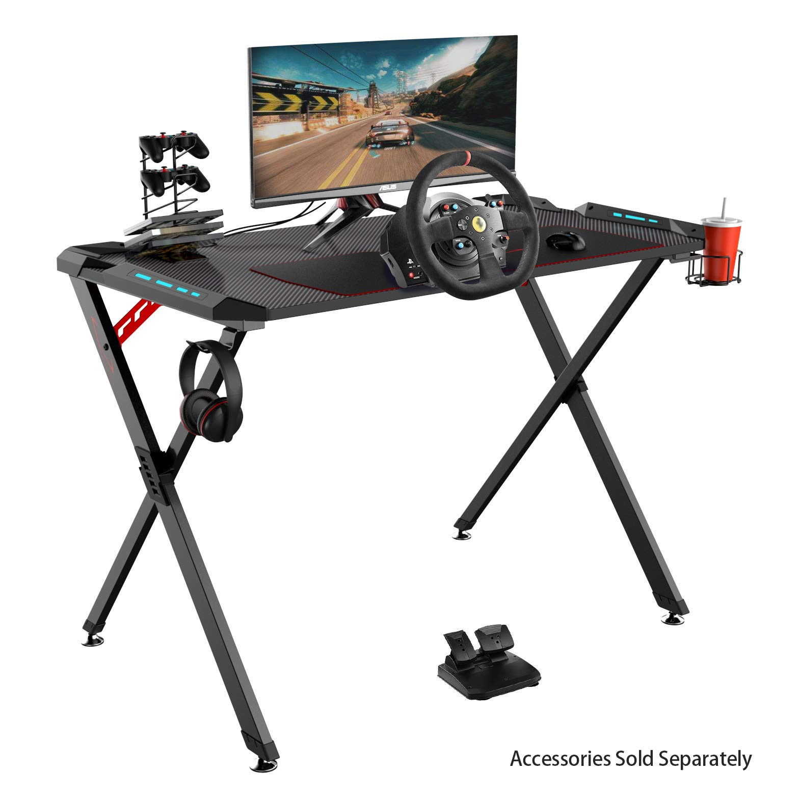 Eureka Ergonomic X1-S Gaming Computer Desk 44.5''x24.19'' Studio Desk PC Table Gaming Desks with LED Lights Large Carbon Fiber Surface Cup Holder & Headphone Hook-Black