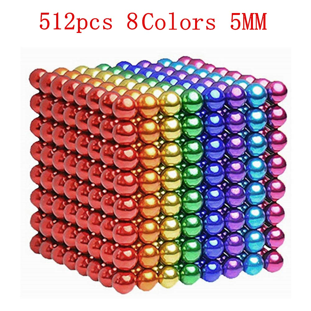 MICOSBVX 512 Pcs 5MM Magnets Sculpture Building Blocks Toys for Intelligence Learning, Stress Relief & Gift for Adults (512 Pcs(8 Colors))