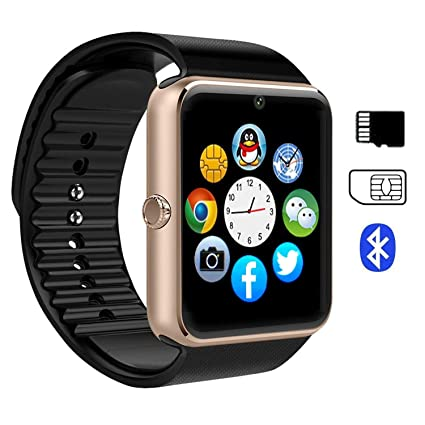 Smartwatch, Effeltch Smart Watch GT08 Touch Screen Wristwatch with Camera/SIM Card Slot/Sleep Monitoring for Android (Full Functions) and iOS (Partial ...
