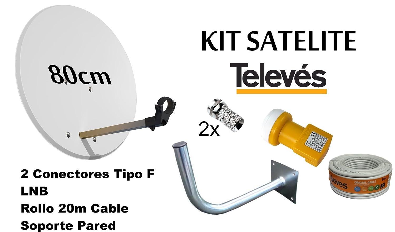 KIT ANTENA PARABOLICA 80cm+LNB+ ROLLO DE CABLE 20M+SOPORTE A PARED TELEVES  7393  Amazon.es  Electrónica 5d9c9717581