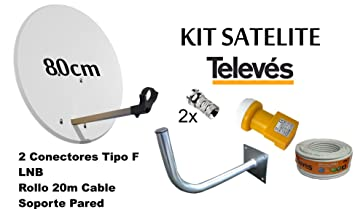 KIT ANTENA PARABOLICA 80cm+LNB+ ROLLO DE CABLE 20M+SOPORTE A PARED TELEVES 7393
