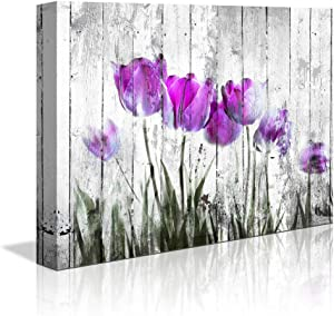 "Tulip Wall Art for Bedroom abstract Purple Flower Canvas Print 12""x16""Wall Art Painting for Living Room wall Decor and artwork Modern Home Decorations framed wall art Photo canvas Prints Ready to Hang"