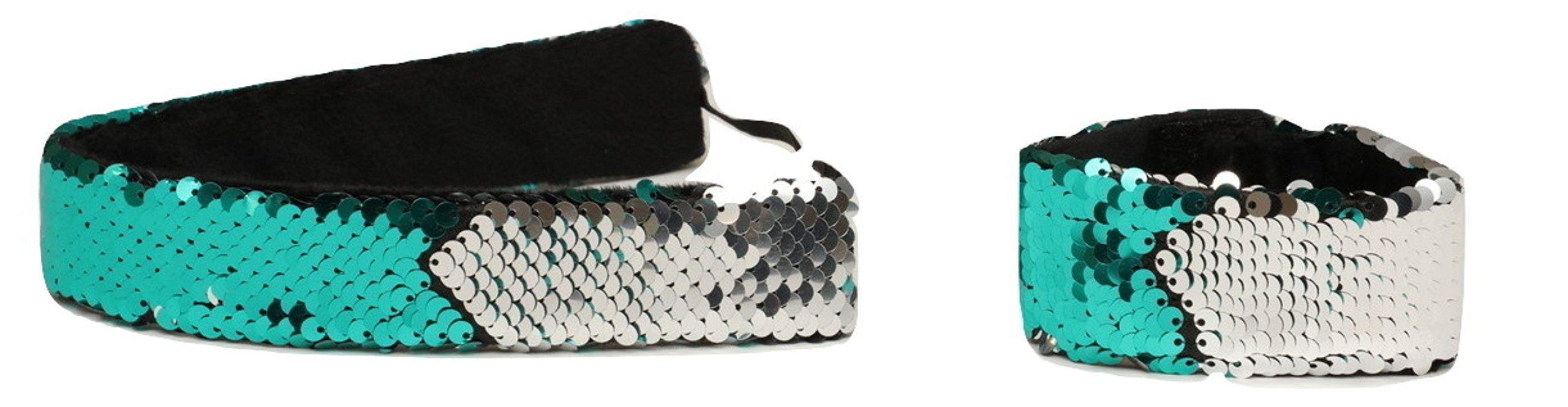 Sparklee Me Mermaid Sequin Headband & Bracelet Sea Green/Silver 2 Pack