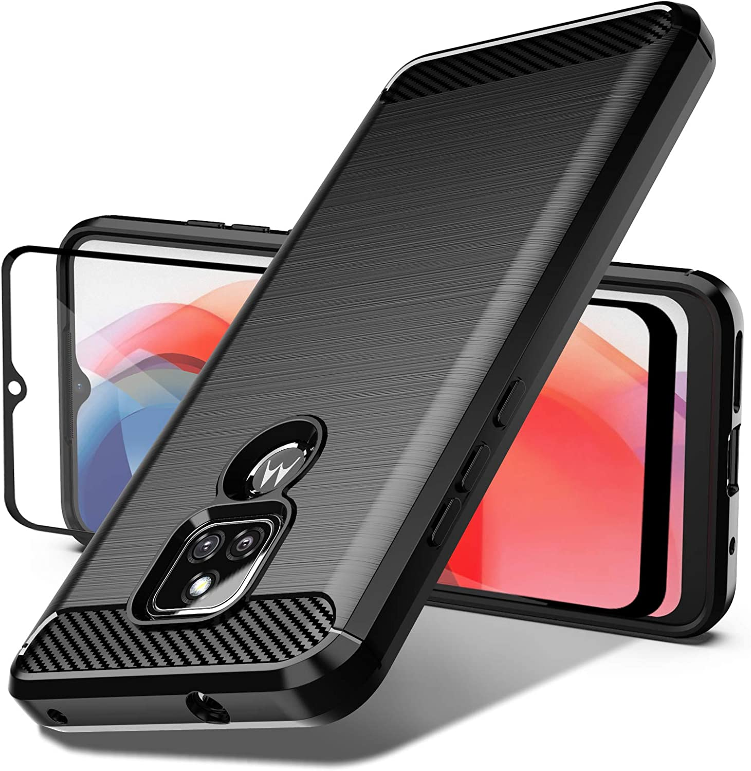 Dretal Moto G Play 2021 Case with Tempered Glass Screen Protector, Shock-Absorption Slim Fit Flexible TPU Case Brushed Texture Soft Rubber Protective Cover for Motorola Moto G Play 2021 (LS-Black)