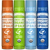 Dr. Bronner's - Organic Lip Balm (4-Pack Variety Peppermint, Orange Ginger, Naked, Lemon Lime) - Made with Organic…