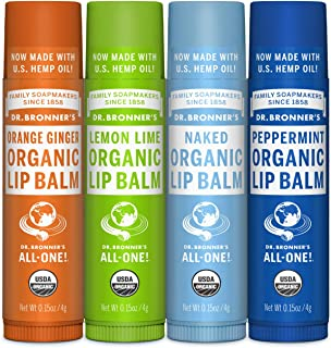 product image for Dr. Bronner's - Organic Lip Balm (4-Pack Variety Peppermint, Orange Ginger, Naked, Lemon Lime) - Made with Organic Beeswax and Avocado Oil, For Dry Lips, Hands, Chin or Cheeks