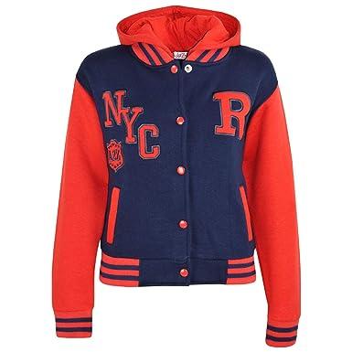 d332629a10a8 Amazon.com  Kids Girls Boys R Fashion NYC Baseball Navy   Red Hooded ...
