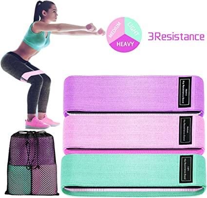 Cotton and Rubber Fabric Sports Fitness Stretch Trainer Bands for Butt and Legs Exercise Perfect for Gym Yoga with Different Resistance Resistance Bands Activate Glutes and Thighs