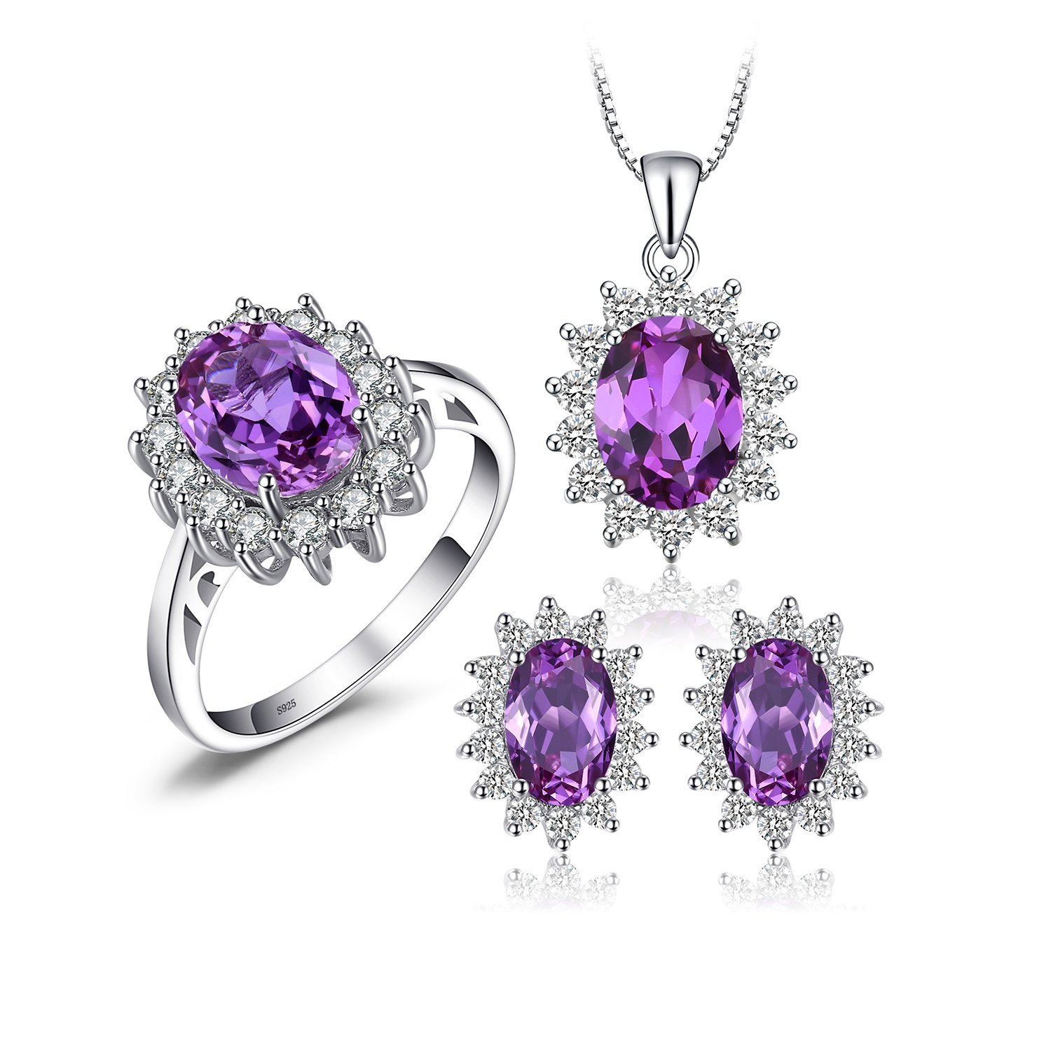 JewelryPalace Women's Princess Diana William Kate Middleton's 7.9ct Created Alexandrite Sapphire Jewelry Sets Ring Pendant Necklace Stud Earrings 925 Sterling Silver Size 9