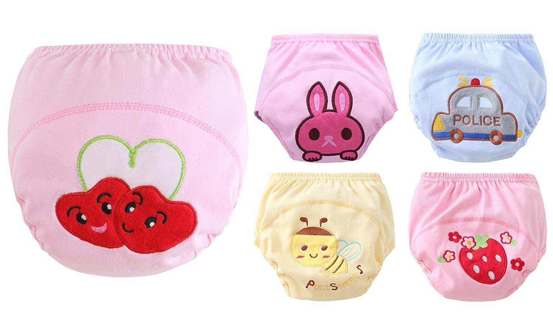 Lot de 5 Culottes Enfant Bébé pour Changer Couche Culotte Imperméable Anti-fuite Culotte Enfant Fille Garçon Taille Haute 5-12mois HANIBEIWA