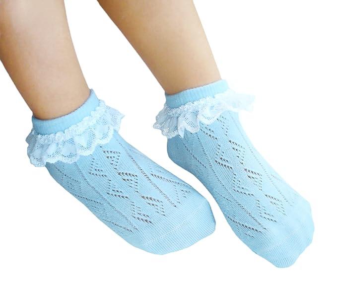 JHosiery Niñas calcetines sin costuras pointelle con encaje para pies sensibles (27-30,