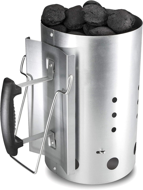 Bruzzzler Chimenea de encendido, encendedor de carbón de barbacoa, con mango de seguridad de plástico y asa abatible, Plata, 31x19,5x30,5 cm, 200100001066: Amazon.es: Jardín
