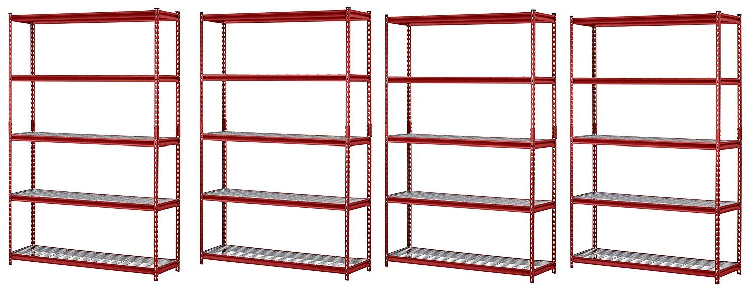 Muscle Rack UR184872-R 5-Shelf Steel Shelving Unit, 48'' Width x 72'' Height x 18'' Length, Red (Pack of 4) by Muscle Rack (Image #1)