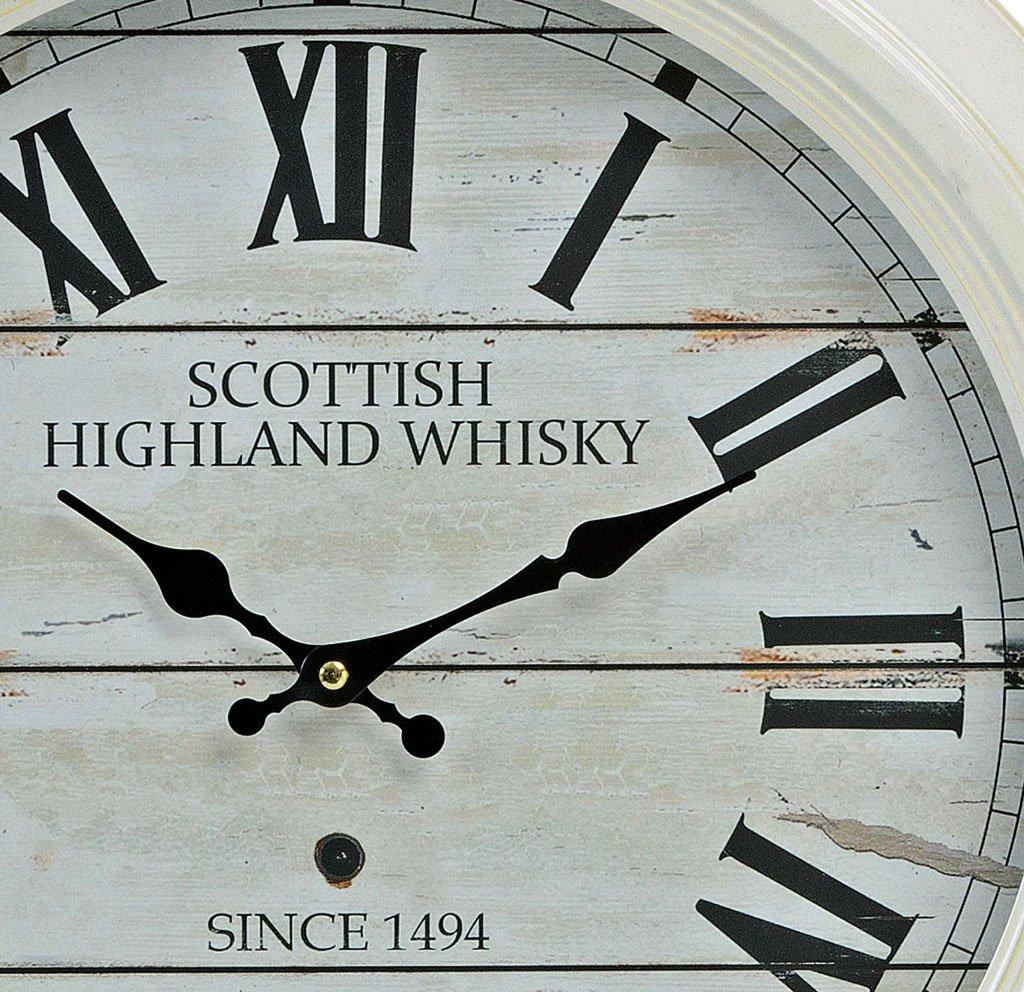 levandeo Grande Reloj Reloj de Pared XXL 47 cm de Metal en Color Blanco -  diseño  Scottish Highland Whisky Números Romanos - Estilo Colonial  Nostalgie Reloj ... c783bb1a63f80