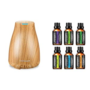 URPOWER 2nd Version Essential Oil Diffuser with 6 Aromatherapy Essential Oil 100% Pure Lavender, Peppermint, Sweet Orange, Eucalyptus, Tea Tree, Lemongrass Essential Oil Diffuser Set for Home Office