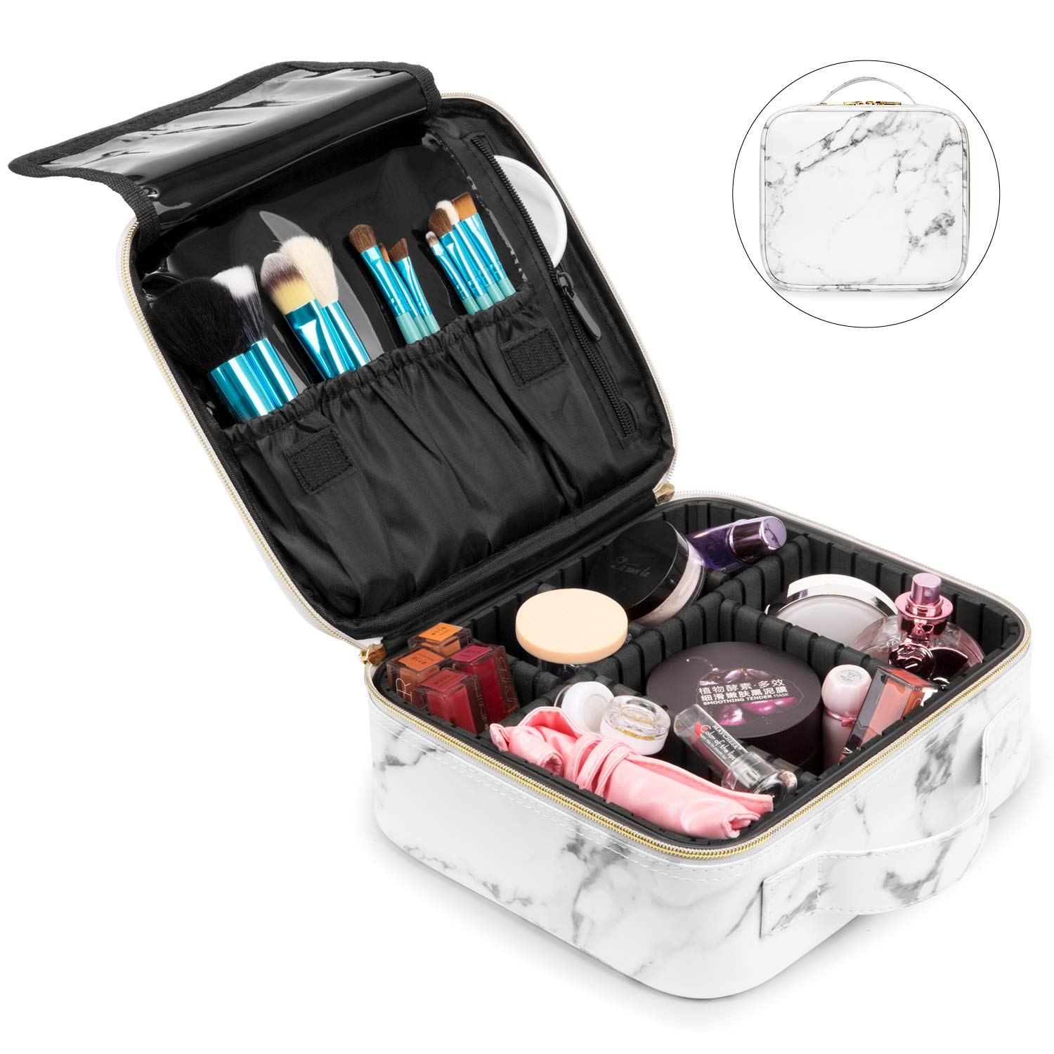 NiceEbag Makeup Bag for Women Large Cosmetic Bag Leather Train Case Professional Makeup Case Cute Travel Makeup Organizer with Brush Section & Removable Dividers for Cosmetics Make Up Tools, Marble