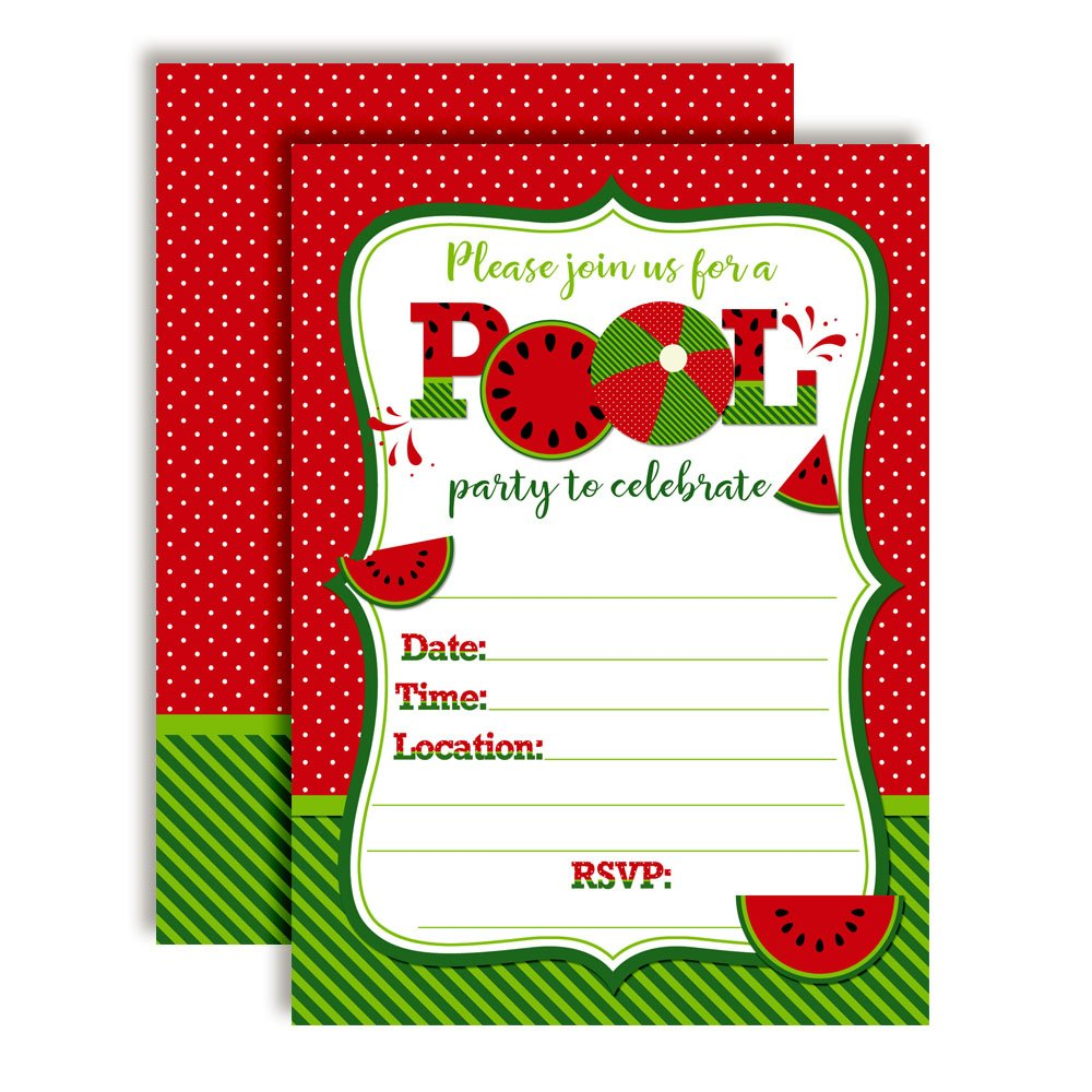 Watermelon Birthday Pool Party Invitations in Red 20 5x7 Fill in Cards with Twenty White Envelopes by AmandaCreation