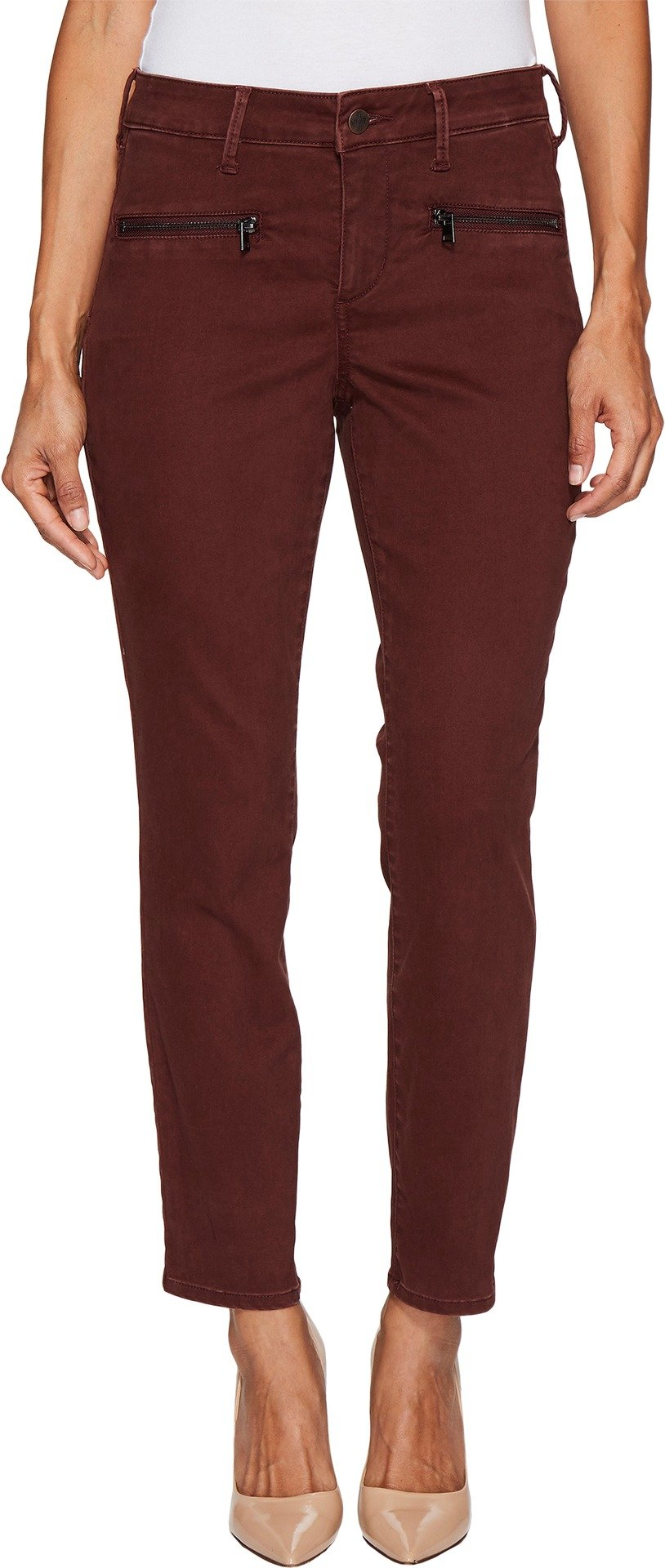 NYDJ Women's Petite Size Skinny Chino Pants, Deep Currant with Zipper, 12P