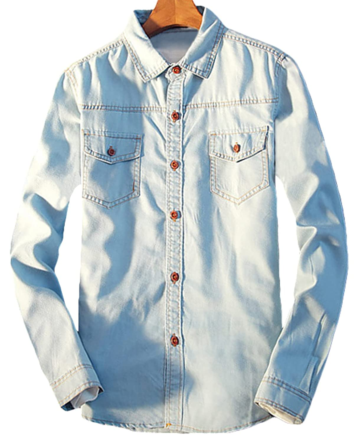 240c2ddb3e Youhan Men s Vintage Fitted Long Sleeve Denim Shirt durable modeling ...