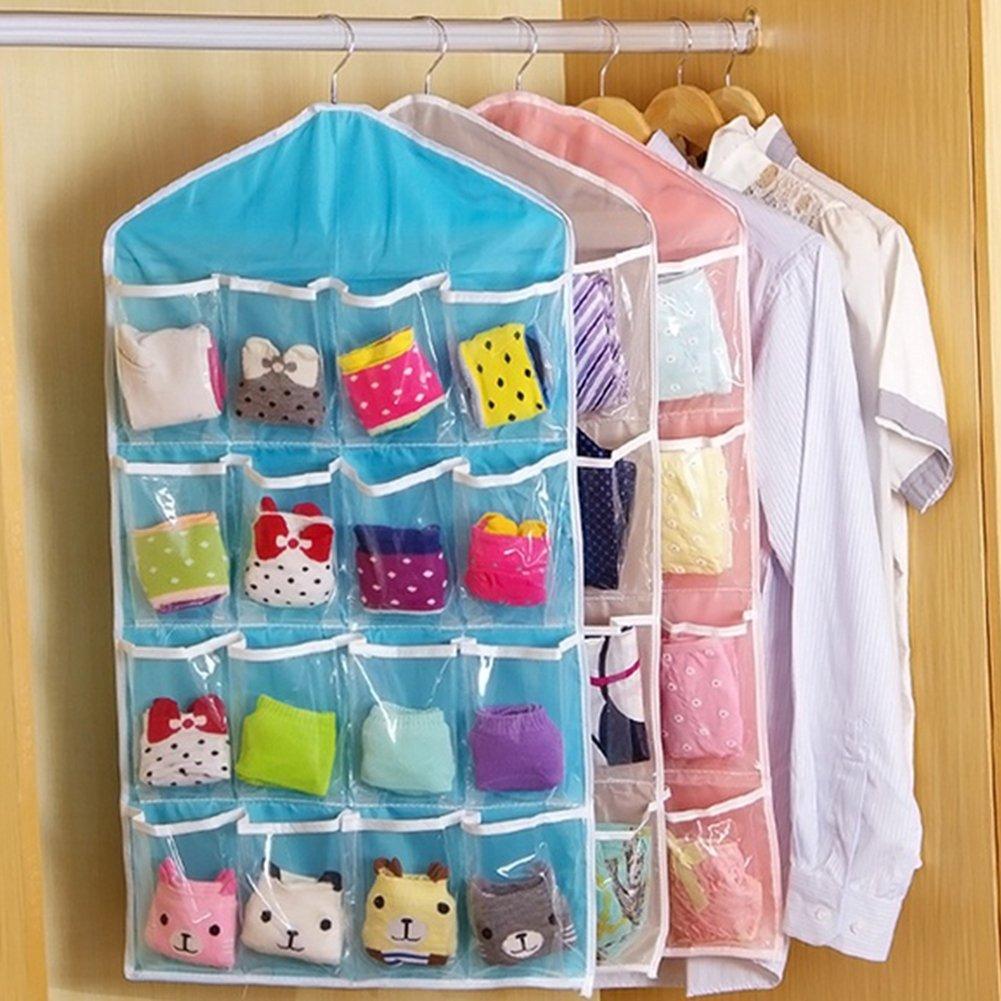 FAVOLOOK 16 bolsillos transparentes para colgar en la puerta, zapatero, zapatero, sujetador, calcetines, armario, organizador de almacenamiento, azul, ...